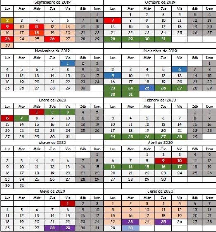 Calendario Universitario.Publicado El Calendario Escolar Para El Curso 2019 2020
